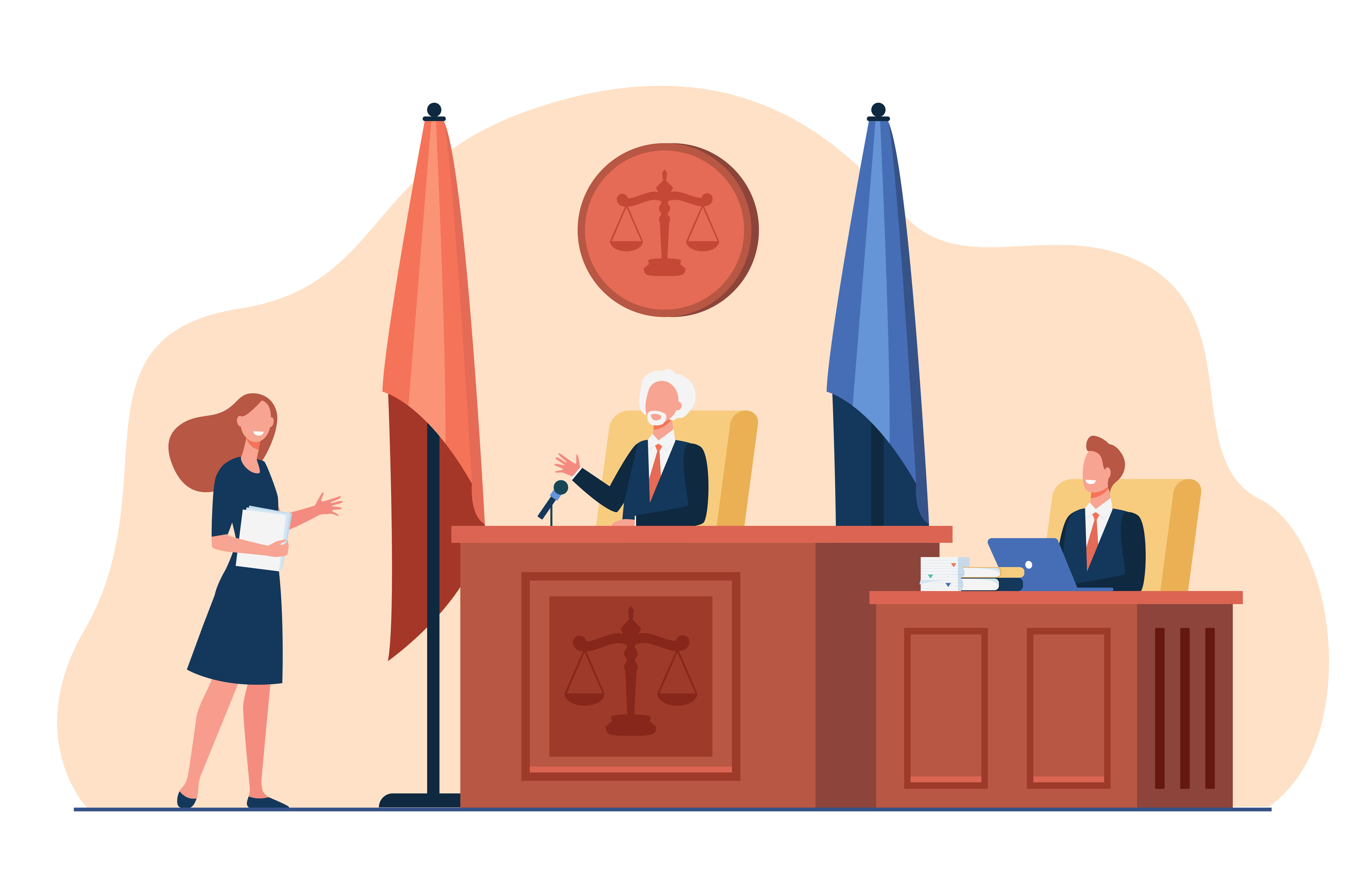 Female attorney standing in front of judge and talking isolated flat vector illustration. Cartoon courtroom or courthouse during trial. Justice and law concept