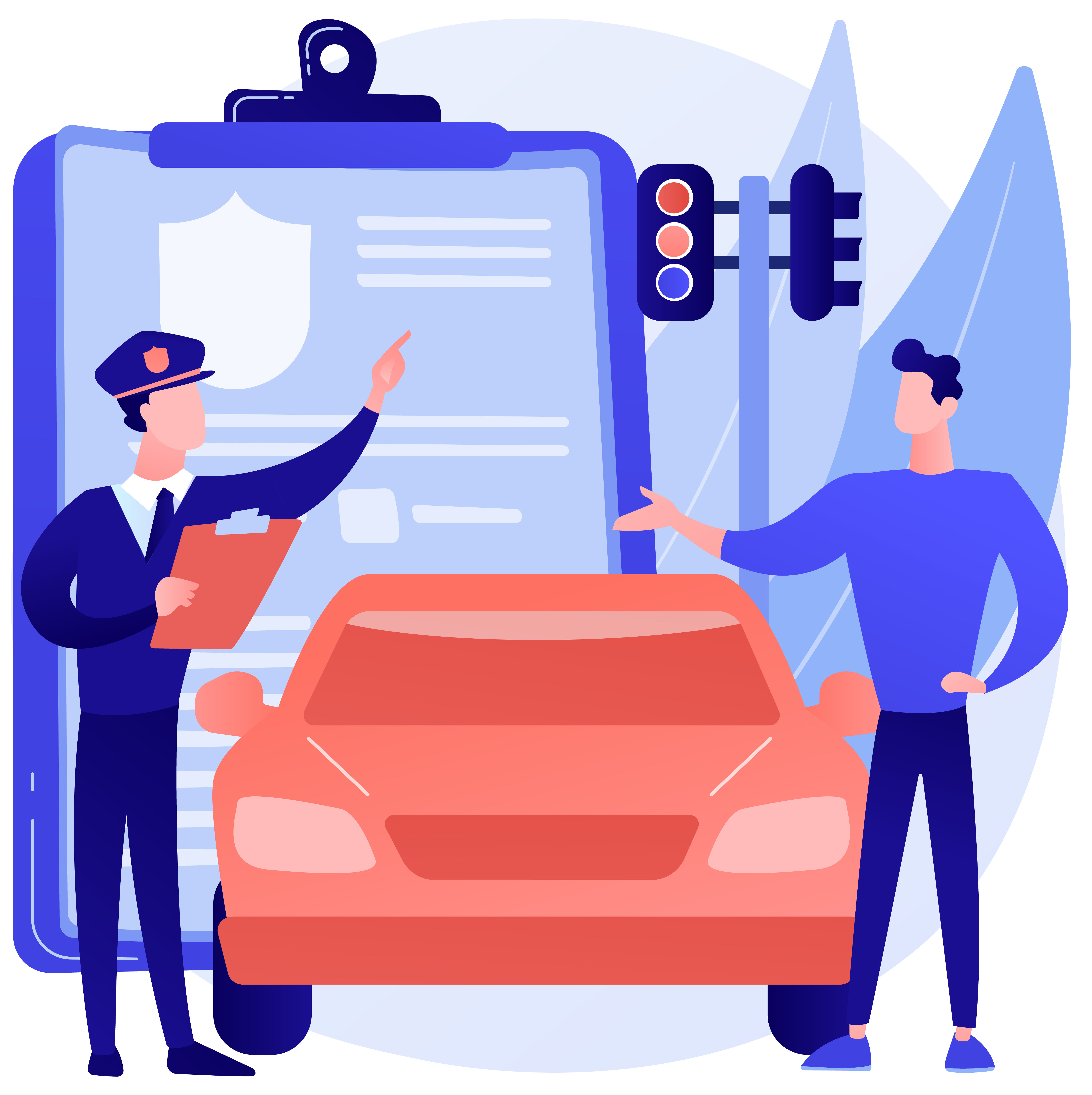 Traffic fine abstract concept vector illustration. Traffic law violation, speeding fine ticket, pay online, driving rules offence, speed control, red light camera, stop sign abstract metaphor.