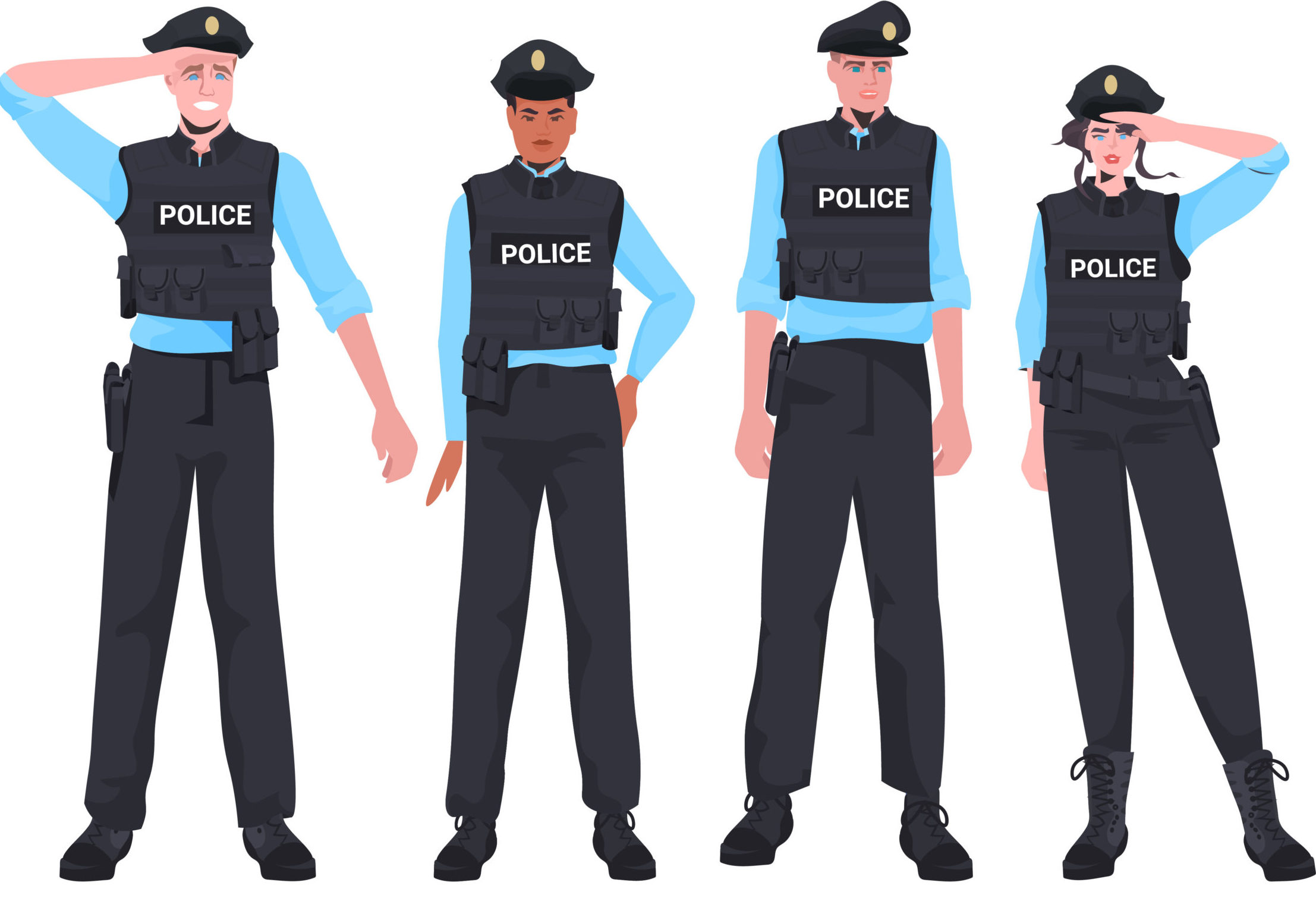mix race policemen in tactical gear standing together riot police officers protesters and demonstration riots mass control concept horizontal full length vector illustration