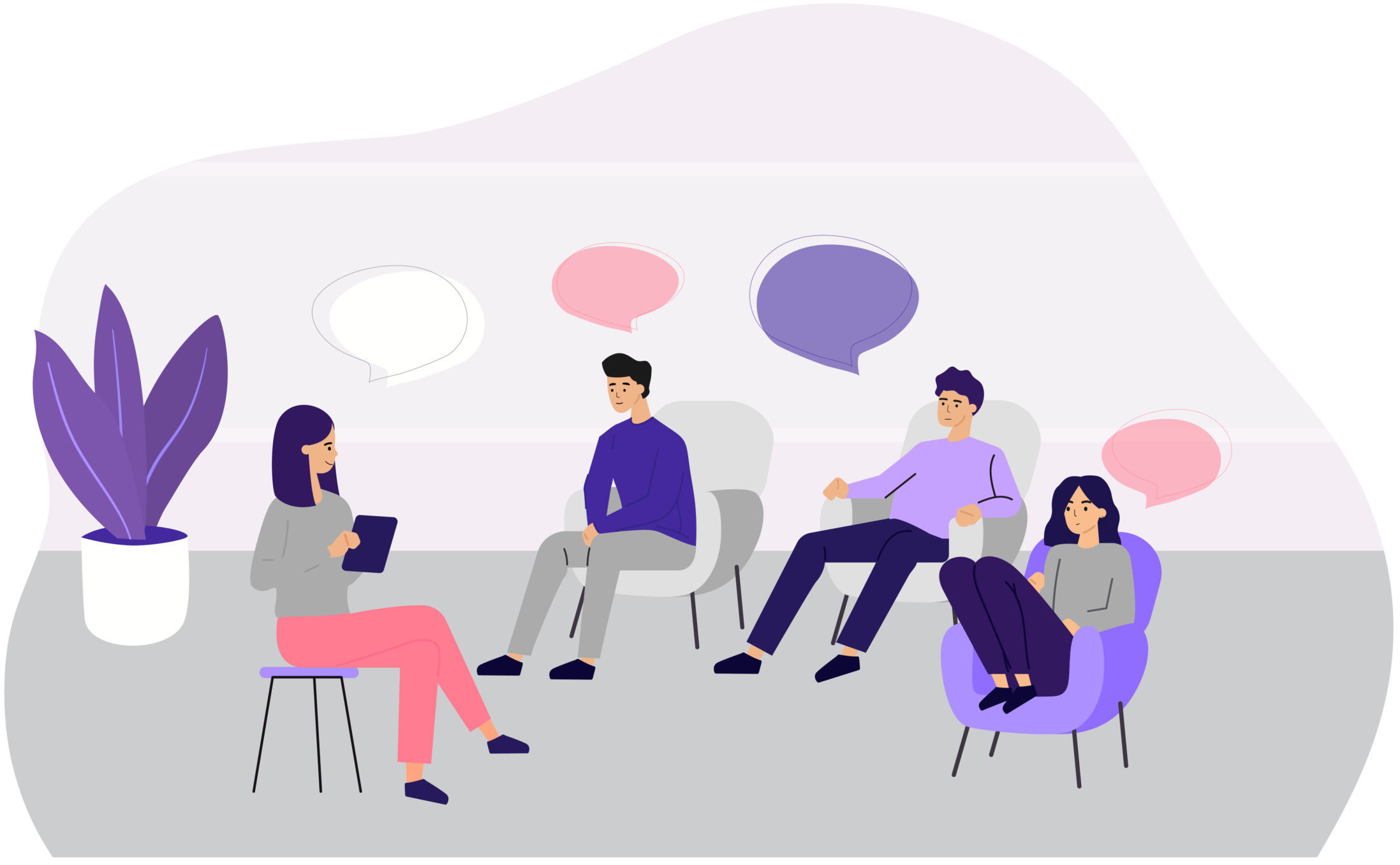 Doctor counseling people at group therapy flat vector illustration. Men and women in psychologist session talking about problems. Medical support and addiction and psychotherapy concept