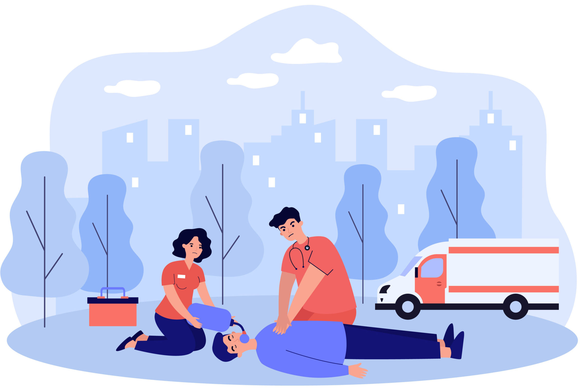 Paramedics resuscitating unconscious person. Doctor and assistant applying cardiopulmonary resuscitation to lying outside. Vector illustration for emergency, accident, first aid training concept